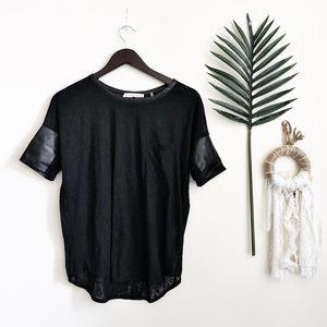 Rebecca Taylor Black Semi- Sheer T-shirt